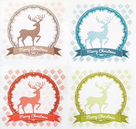 Weihnachtskarte Hirsch mit Verzierung