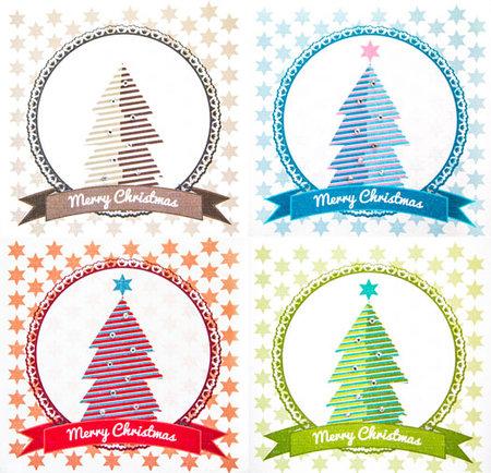 Weihnachtskarte Tannenbaum mit Verzierung